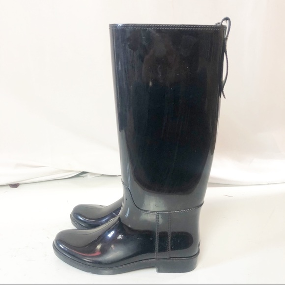 Coach Black Tall Waterproof Glossy Rain Boots Sz 9
